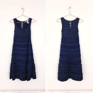 DIANE VON FURSTENBERG Navy Silk & Crochet Dress M